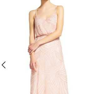 Blush beaded bridesmaid dress